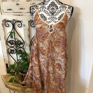 O Neill orange palm print halter dress